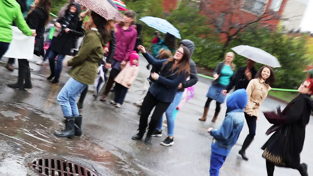 A group of enthusiastic dancers in Montreal.