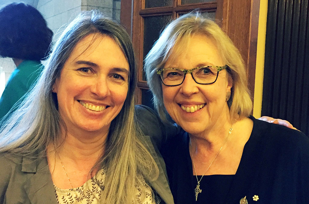 Katrina Kilroy and Elizabeth May, leader of the Green Party
