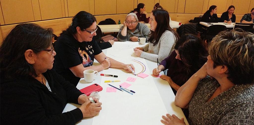 Members discussing NACM's vision for Indigenous midwifery education at 2018 Gathering in Kitigan Zibi.